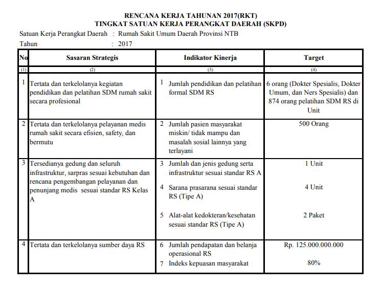 Rencana Kerja Tahunan 2017 Rumah Sakit Umum Daerah Provinsi Ntb