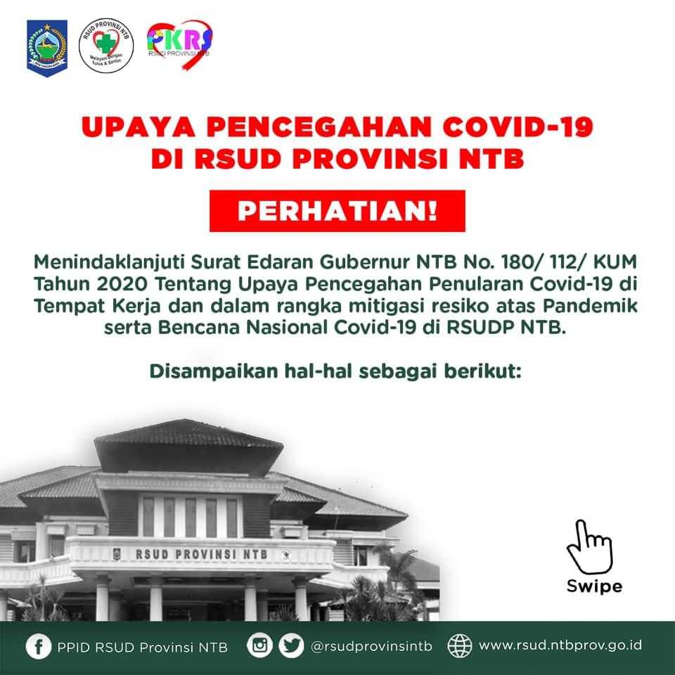 Upaya Pencegahan COVID-19 di RSUD Provinsi NTB