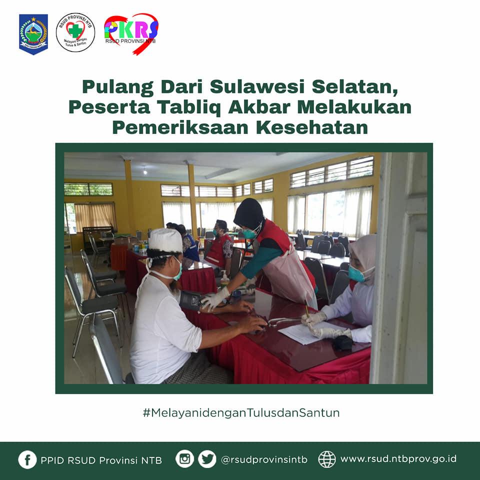 Pulang dari Sulawesi Selatan, Peserta Tabligh Akbar Melakukan Pemeriksaan Kesehatan