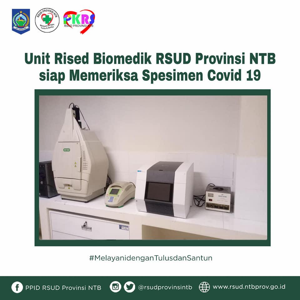 Unit Riset Biomedik RSUD Provinsi NTB Siap Memeriksa Spesimen COVID-19