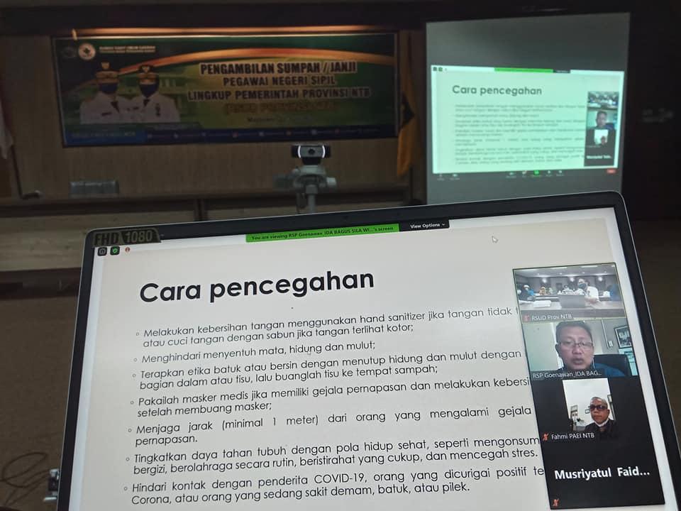 RSUD Provinsi NTB Mengikuti Pelatihan PPI Melalui Webinar