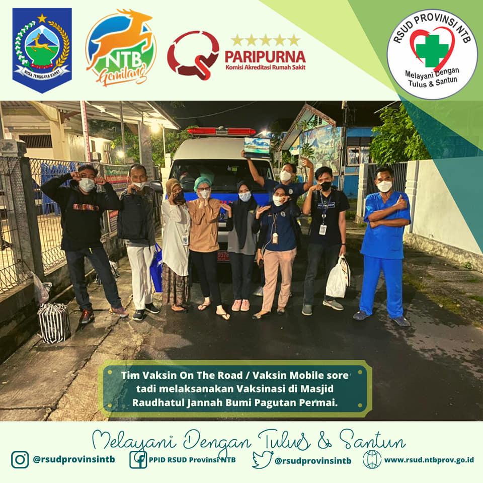 Tim Vaksin On The Road / Vaksin Mobile Sore Tadi Melaksanakan Vaksinasi di Masjid Raudhatul Jannah Bumi Pagutan Permai